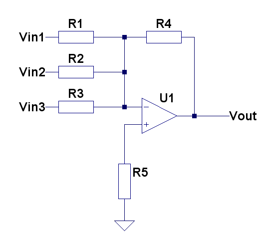 Summing inverting amplifier