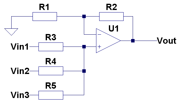 Summing non-inverting amplifier