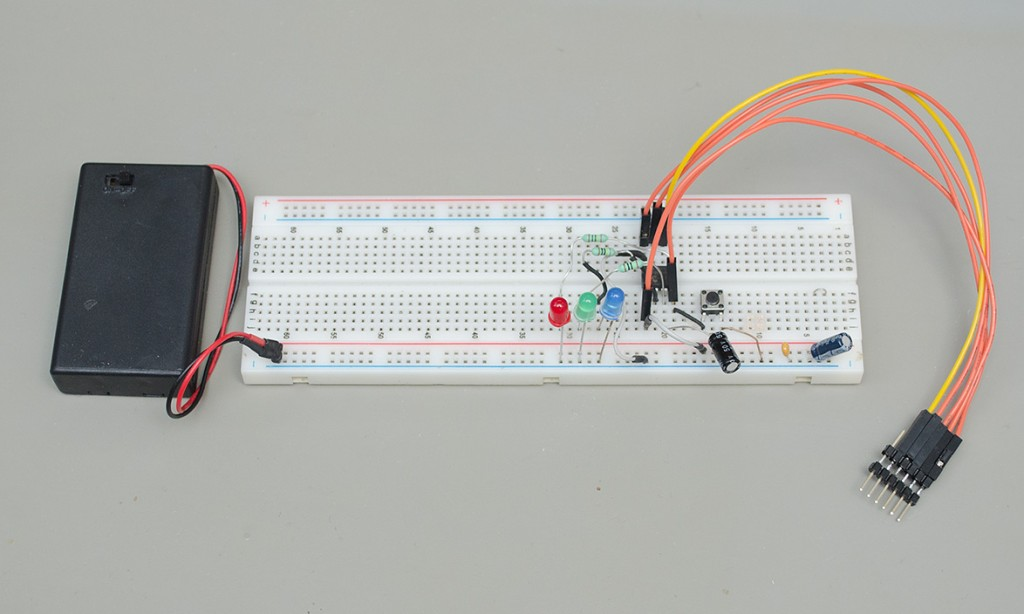 Christmas lights prototype on a breadboard